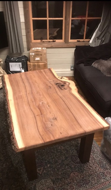 2 table tops made from one plank of English Elm angle view