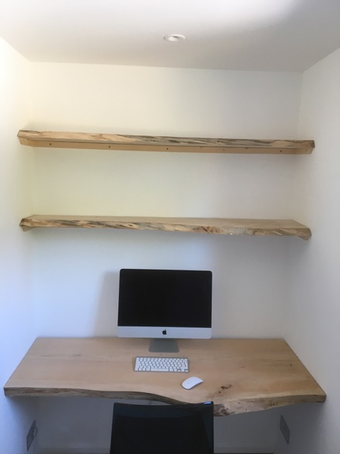 Untreated Cedar planks for desk and shelving.
